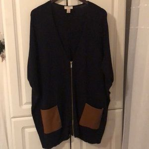 Cozy Long Front Zip Leather Pocket Loft Cardigan